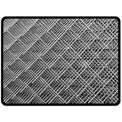 Grid Wire Mesh Stainless Rods Rods Raster Double Sided Fleece Blanket (large)