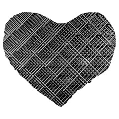 Grid Wire Mesh Stainless Rods Rods Raster Large 19  Premium Flano Heart Shape Cushions