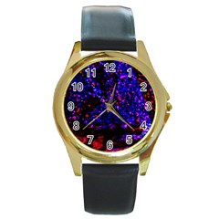Grunge Abstract Round Gold Metal Watch