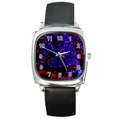 Grunge Abstract Square Metal Watch