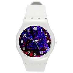 Grunge Abstract Round Plastic Sport Watch (m)