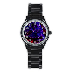 Grunge Abstract Stainless Steel Round Watch