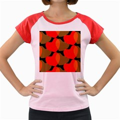 Heart Pattern Women s Cap Sleeve T-Shirt