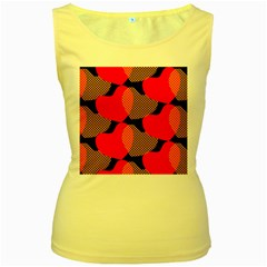 Heart Pattern Women s Yellow Tank Top