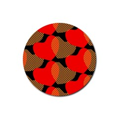 Heart Pattern Rubber Round Coaster (4 Pack)