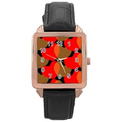 Heart Pattern Rose Gold Leather Watch