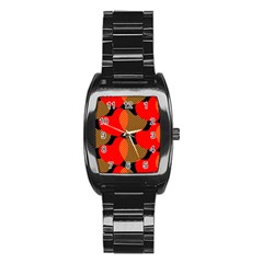 Heart Pattern Stainless Steel Barrel Watch