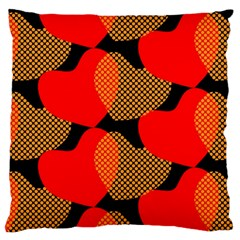 Heart Pattern Large Flano Cushion Case (one Side)