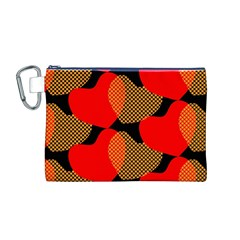 Heart Pattern Canvas Cosmetic Bag (m)