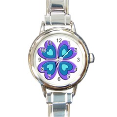 Light Blue Heart Images Round Italian Charm Watch
