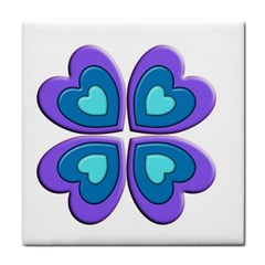 Light Blue Heart Images Tile Coasters