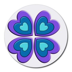 Light Blue Heart Images Round Mousepads