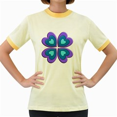 Light Blue Heart Images Women s Fitted Ringer T Shirts