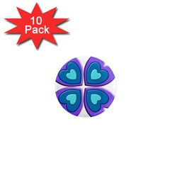Light Blue Heart Images 1  Mini Magnet (10 Pack)