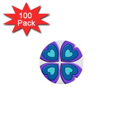 Light Blue Heart Images 1  Mini Buttons (100 Pack)