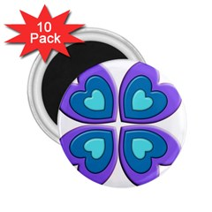 Light Blue Heart Images 2 25  Magnets (10 Pack)
