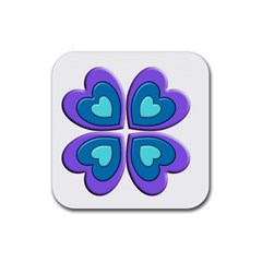 Light Blue Heart Images Rubber Coaster (Square)