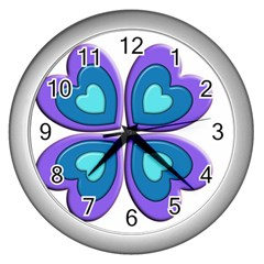 Light Blue Heart Images Wall Clocks (silver)