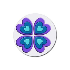 Light Blue Heart Images Rubber Round Coaster (4 Pack)