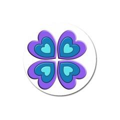 Light Blue Heart Images Magnet 3  (round)