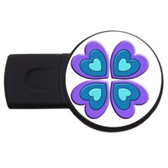 Light Blue Heart Images USB Flash Drive Round (1 GB)