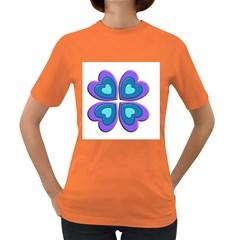 Light Blue Heart Images Women s Dark T Shirt