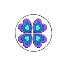 Light Blue Heart Images Hat Clip Ball Marker