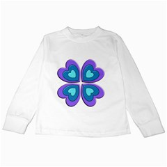 Light Blue Heart Images Kids Long Sleeve T Shirts