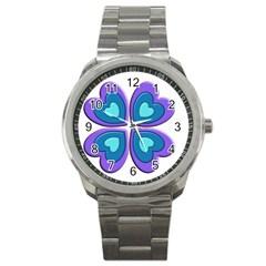 Light Blue Heart Images Sport Metal Watch