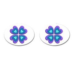 Light Blue Heart Images Cufflinks (oval)