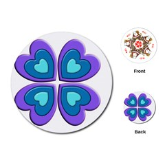 Light Blue Heart Images Playing Cards (round)