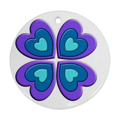 Light Blue Heart Images Round Ornament (two Sides)