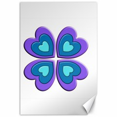 Light Blue Heart Images Canvas 12  X 18