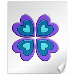 Light Blue Heart Images Canvas 16  X 20