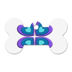 Light Blue Heart Images Dog Tag Bone (two Sides)