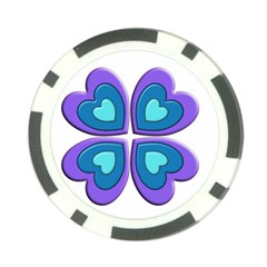 Light Blue Heart Images Poker Chip Card Guard