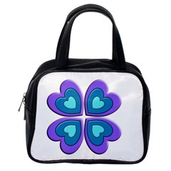 Light Blue Heart Images Classic Handbags (one Side)
