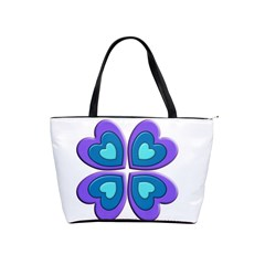 Light Blue Heart Images Shoulder Handbags