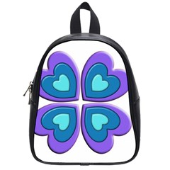 Light Blue Heart Images School Bags (small)
