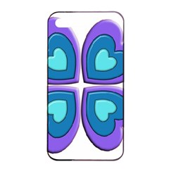 Light Blue Heart Images Apple Iphone 4/4s Seamless Case (black)