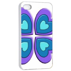 Light Blue Heart Images Apple Iphone 4/4s Seamless Case (white)