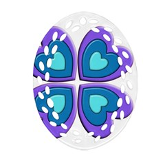 Light Blue Heart Images Oval Filigree Ornament (two Sides)