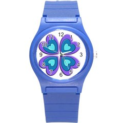 Light Blue Heart Images Round Plastic Sport Watch (s)
