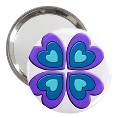 Light Blue Heart Images 3  Handbag Mirrors