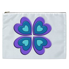 Light Blue Heart Images Cosmetic Bag (xxl)