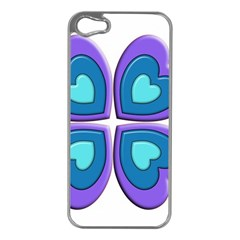 Light Blue Heart Images Apple Iphone 5 Case (silver)