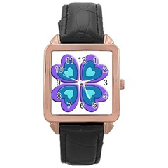 Light Blue Heart Images Rose Gold Leather Watch