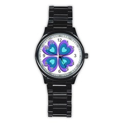 Light Blue Heart Images Stainless Steel Round Watch