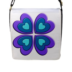 Light Blue Heart Images Flap Messenger Bag (l)