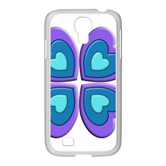 Light Blue Heart Images Samsung Galaxy S4 I9500/ I9505 Case (white)
